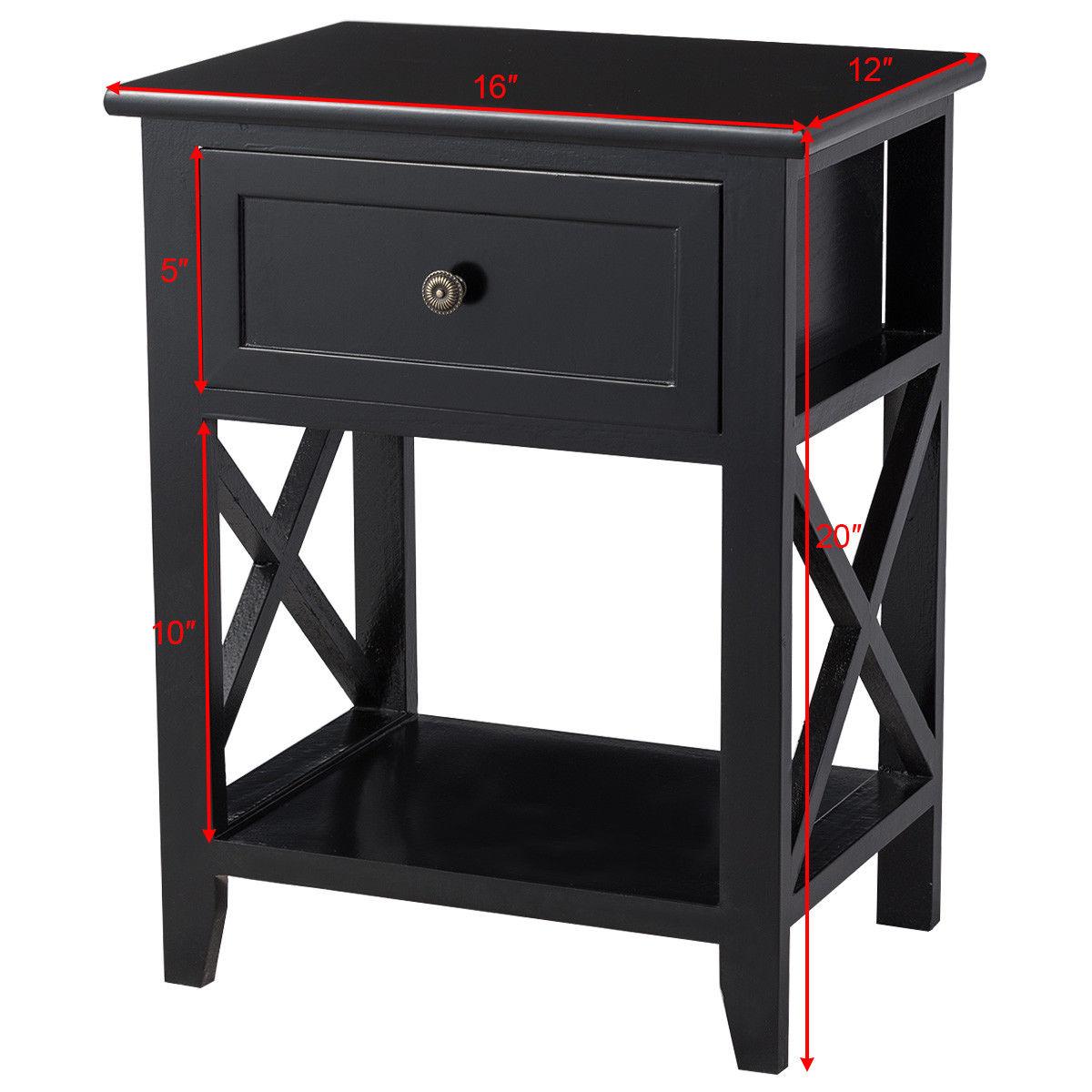 Storage End Bedside Drawer Nightstand w/ Bottom Shelf