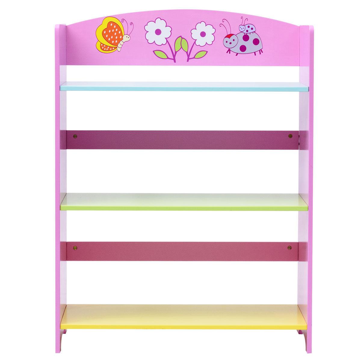 Kids Adorable Corner Adjustable Bookshelf with 3 Shelves