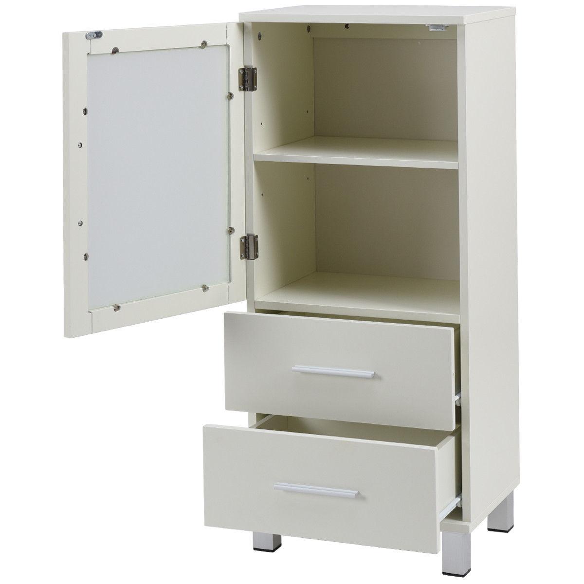 Wood Floor Storage Cabinet w/ 2 Drawers