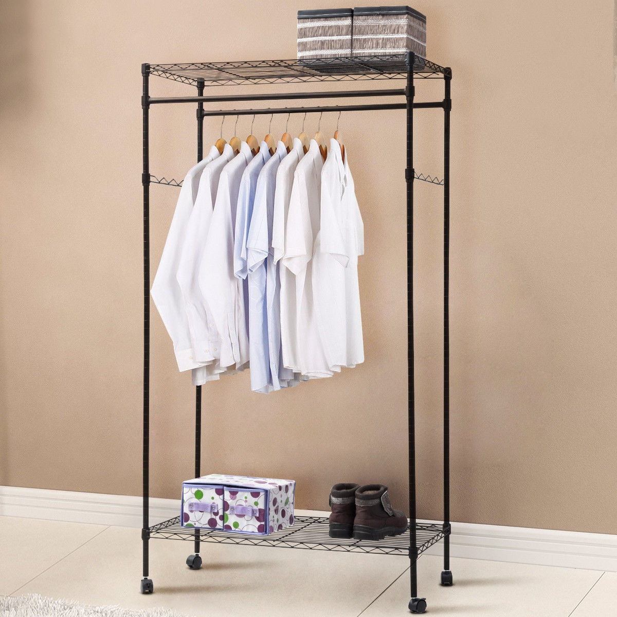 Double Hanging Rolling Adjustable Rod Portable Garment Rack