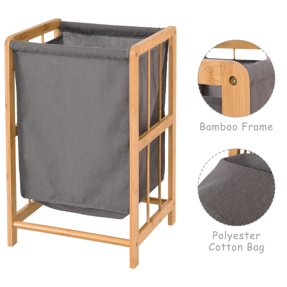 Bamboo Frame Durable Sorter Storage Laundry Hamper