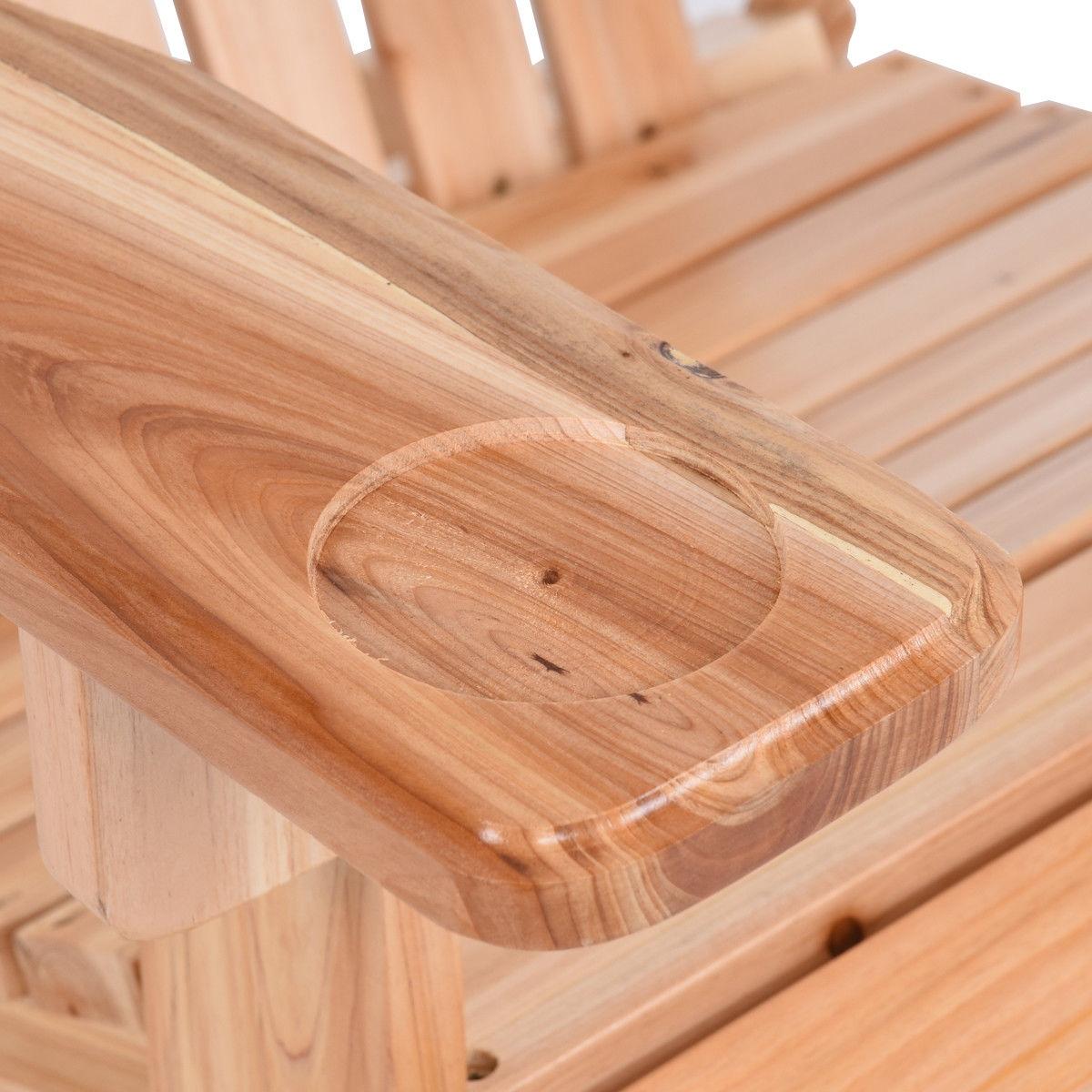 Patio Foldable Wood Adirondack Chair w/ Footrest Stool