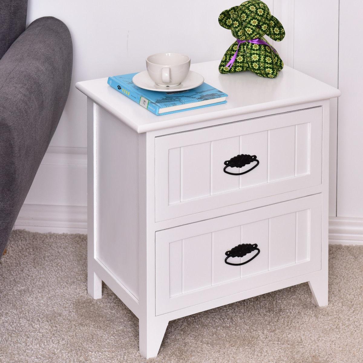 2 Drawers Storage Wood End Side Nightstand