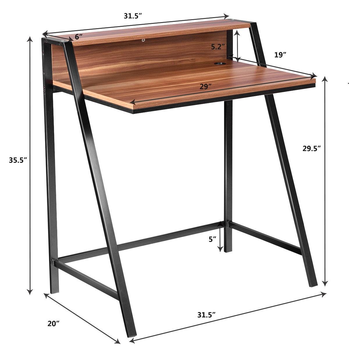 2 Tier Home Office Study Workstation Computer Desk