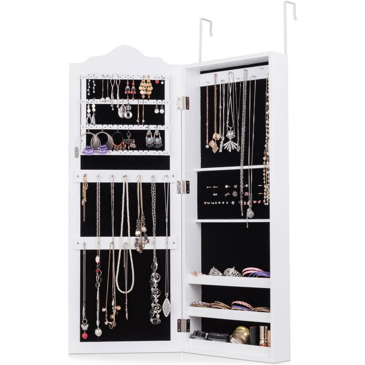 Wall Mounted Mirrored Jewelry Armoire Storage Organizer