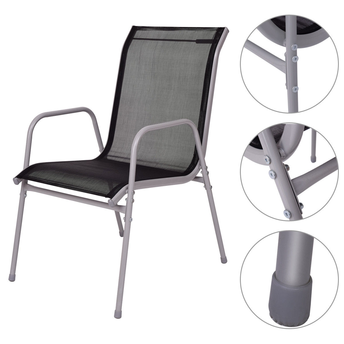 7 Piece Patio Furniture Steel Table Chairs Dining Set