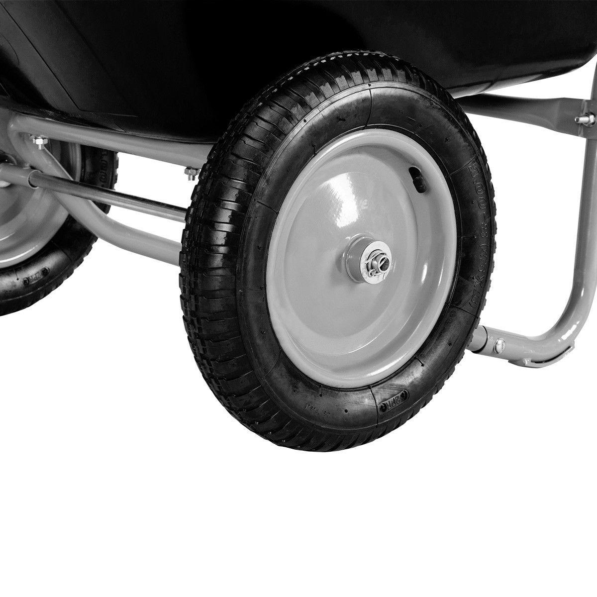 Heavy Duty 2 Tire Garden Landscape Wagon Wheelbarrow