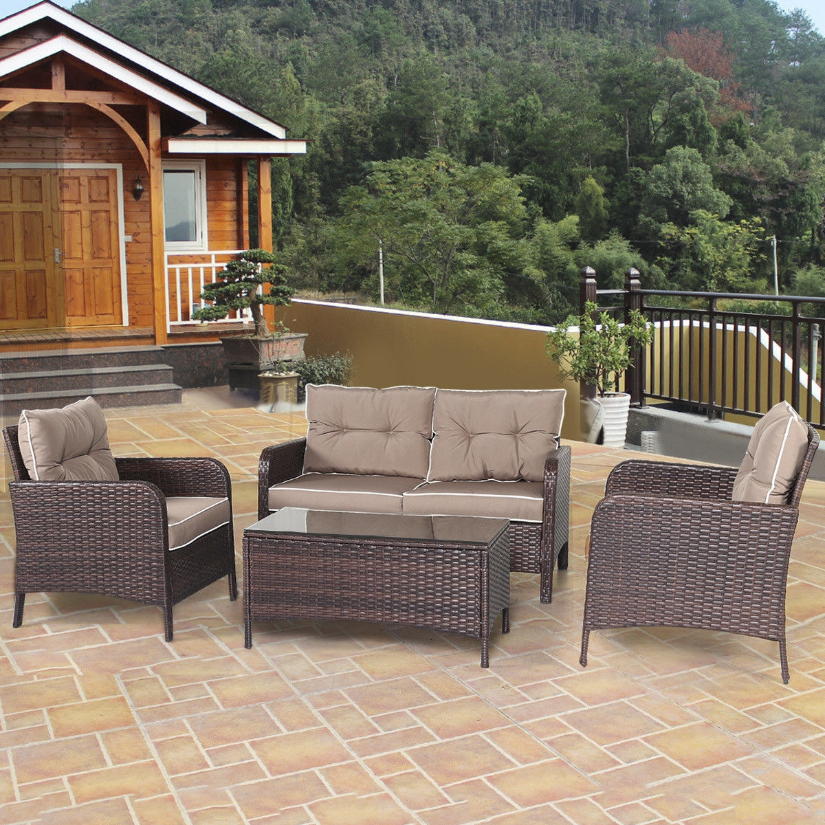 4 pcs Outdoor Rattan Wicker Loveseat Furniture Set w/ Cushions-Coffee