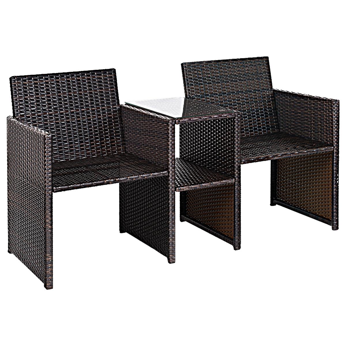 Patio Rattan Conversation Cushioned Seat Sofa Set