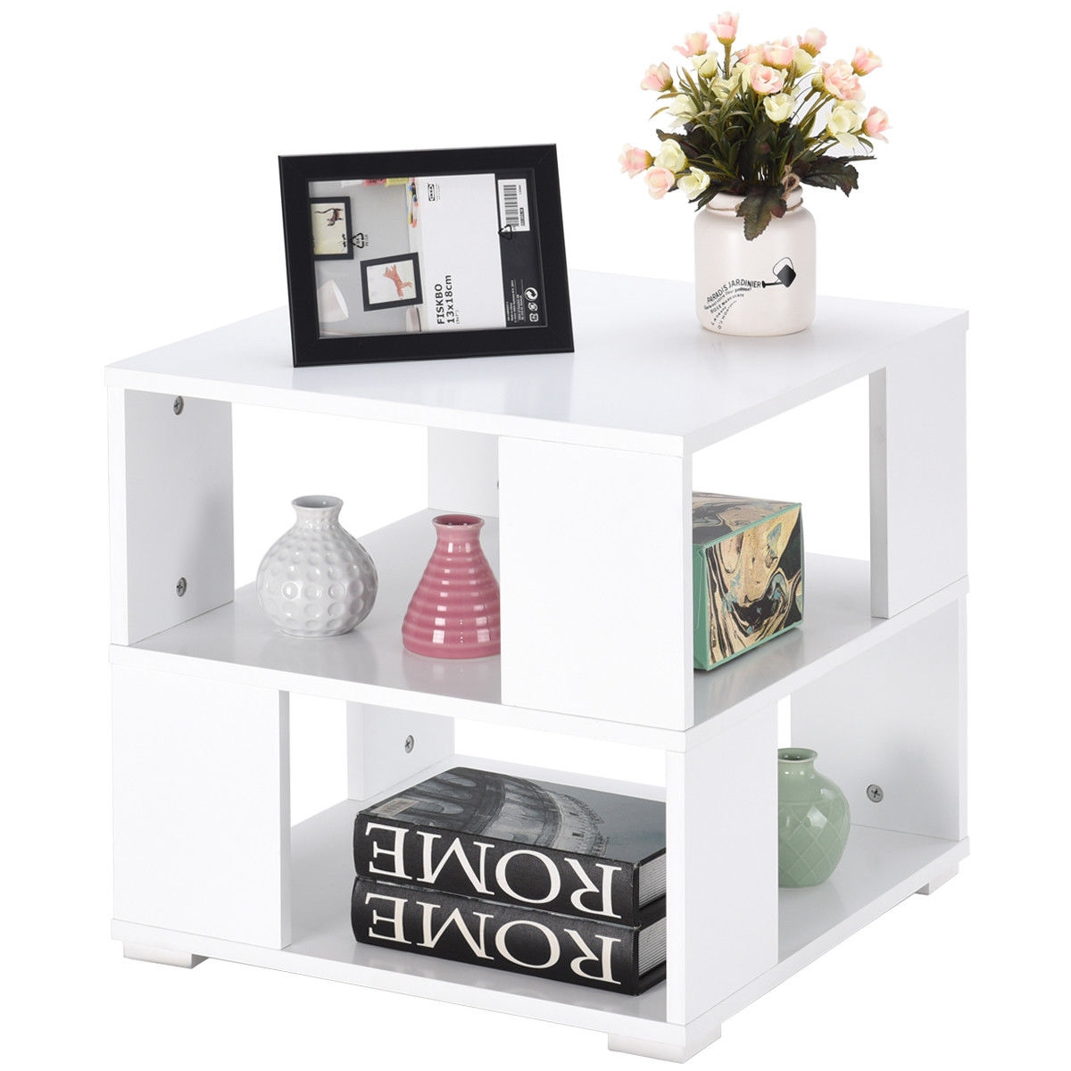 Modern Wood Square End Table with Storage Cube Shelves