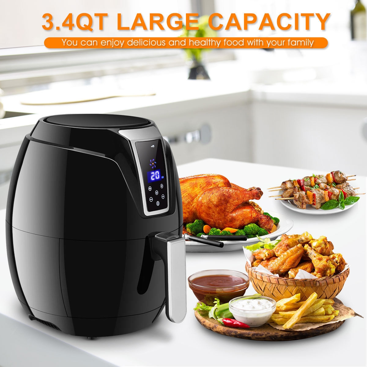 1400W 3.4Qt Time Control Touch LCD Electric Air Fryer