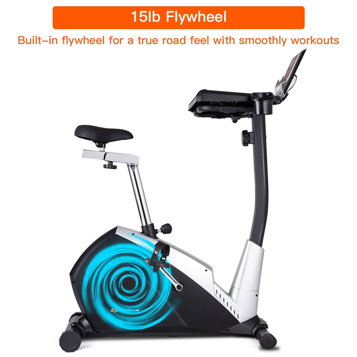Upright Stationary Magnetic Laptop Tray Exercise Bicycle