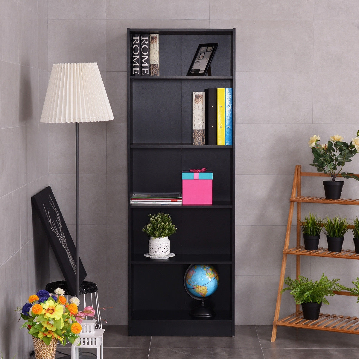 Modern 5 Tier Storage Media Shelf Cabinet Bookcase