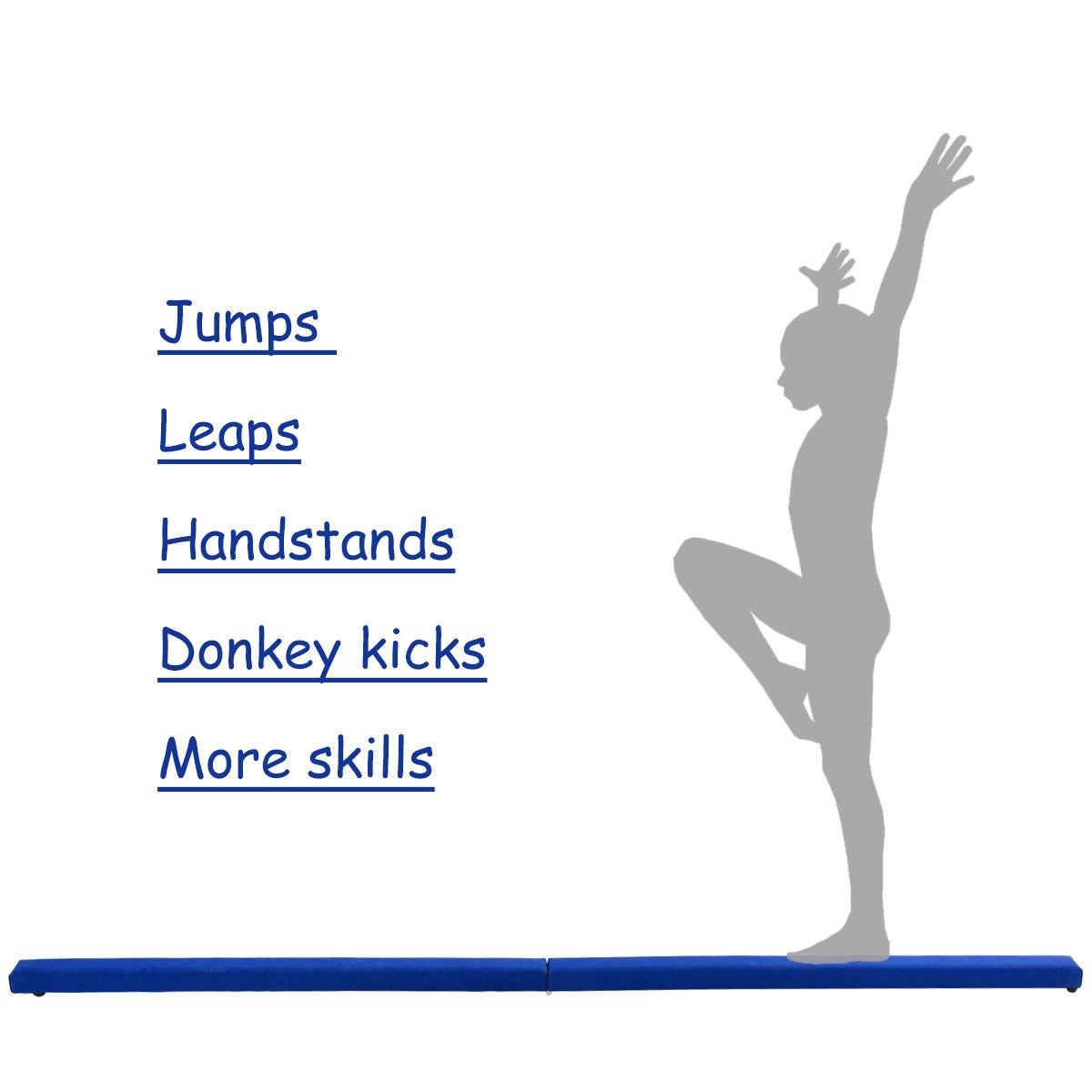8 ft Gymnastics Performance Training Folding Floor Balance Beam