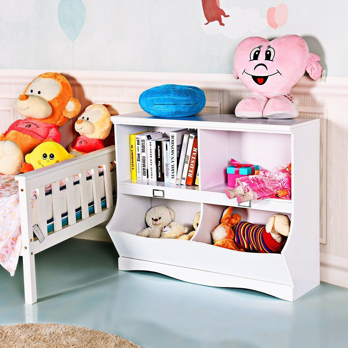 Children Storage White Bookcase Toy Organizer