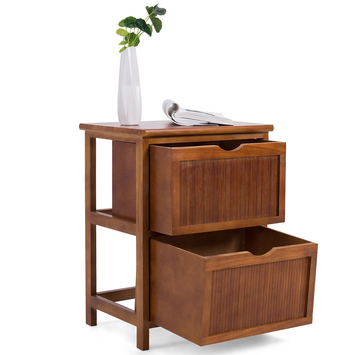 2 Drawers Contemporary Vintage Bedside Solid Wood Nightstand
