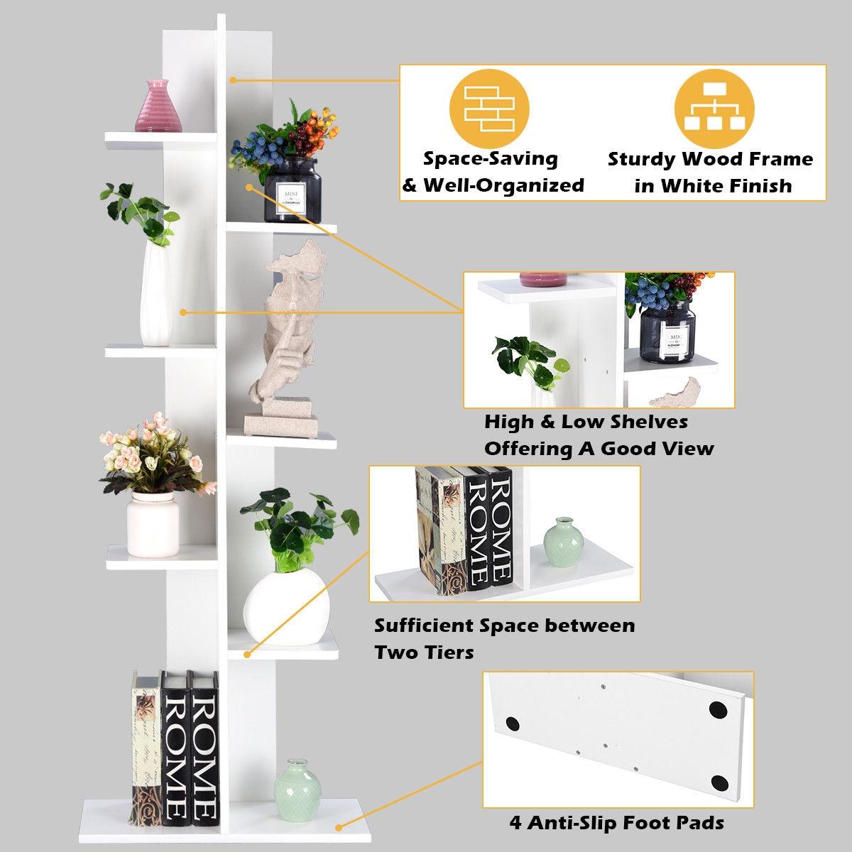 Open Concept Plant Display Shelf Rack Storage Holder-White