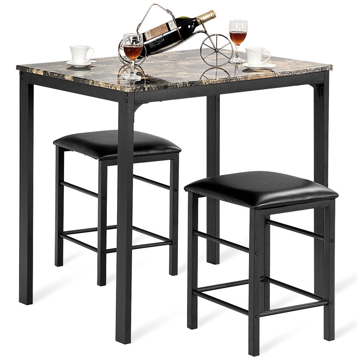 3 pcs Kitchen Counter Height Faux Marble Table 2 Chairs Set