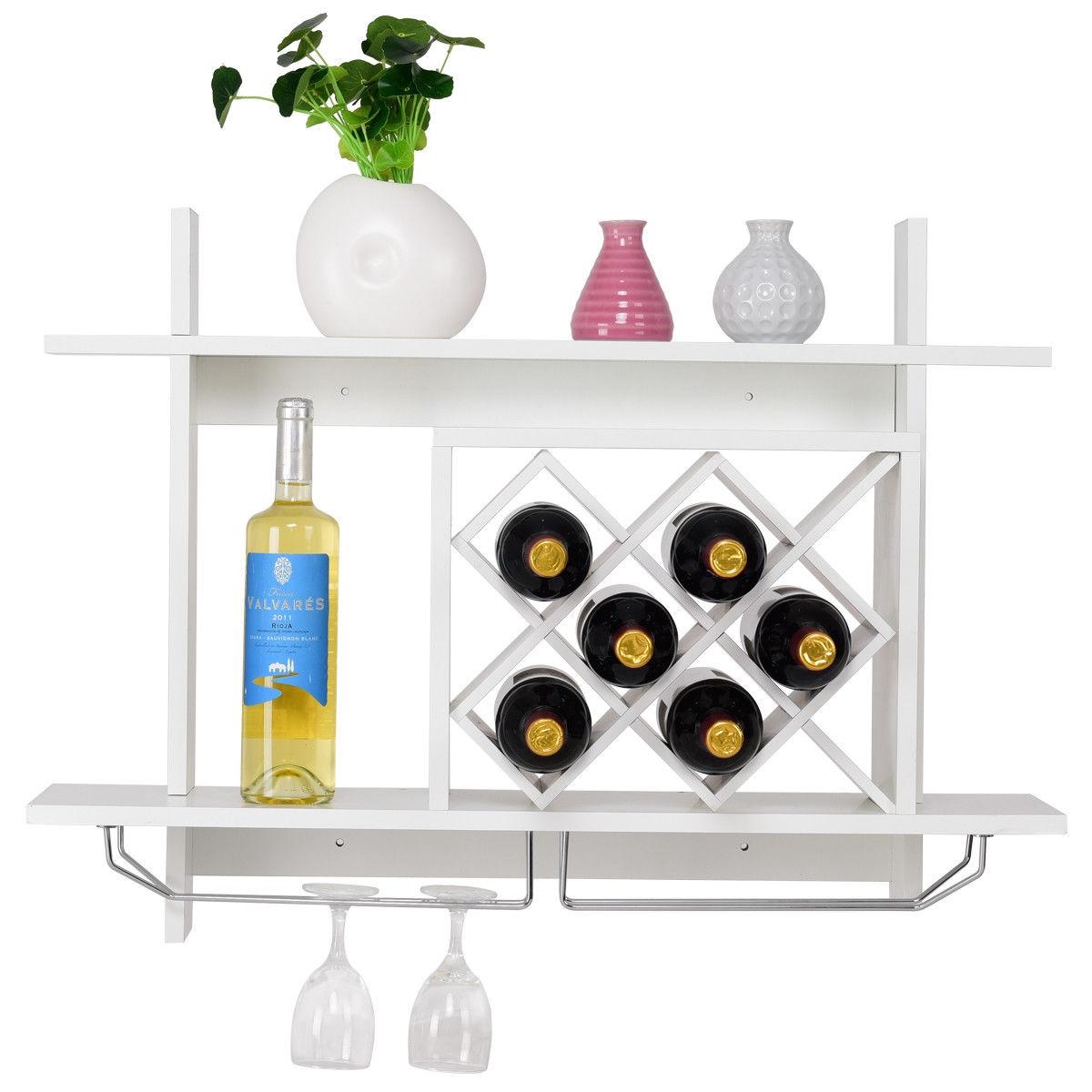 Wall Mount Wine Rack w/ Glass Holder & Storage Shelf