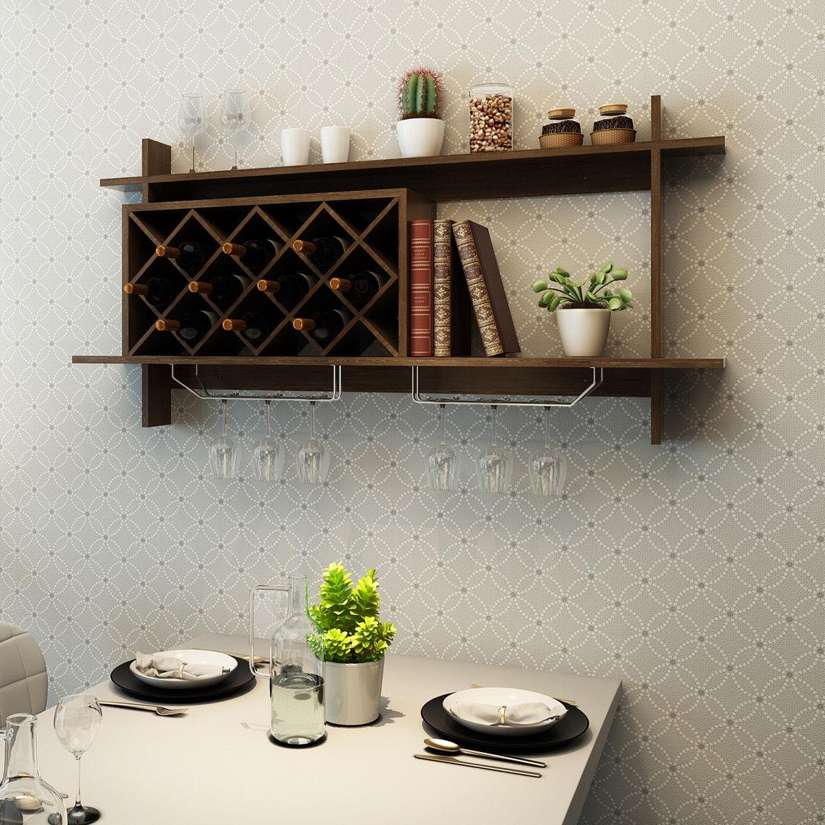 Wall Mount Wine Rack with Glass Holder & Storage Shelf-Walnut