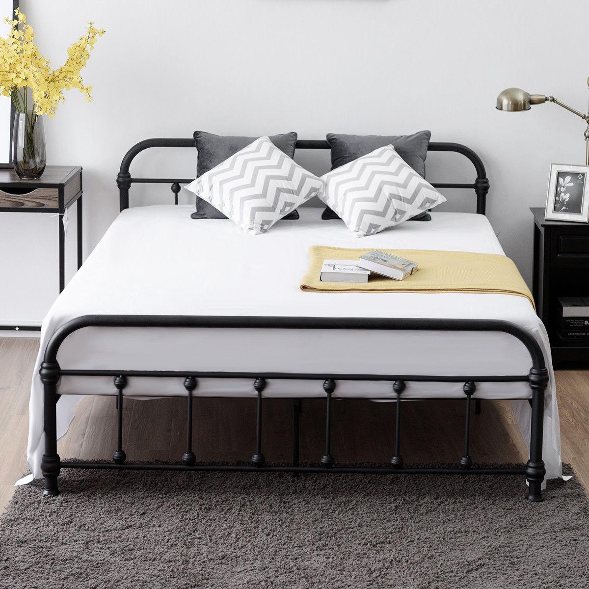 Queen Size Metal Steel Bed Frame w/ Stable Metal Slats