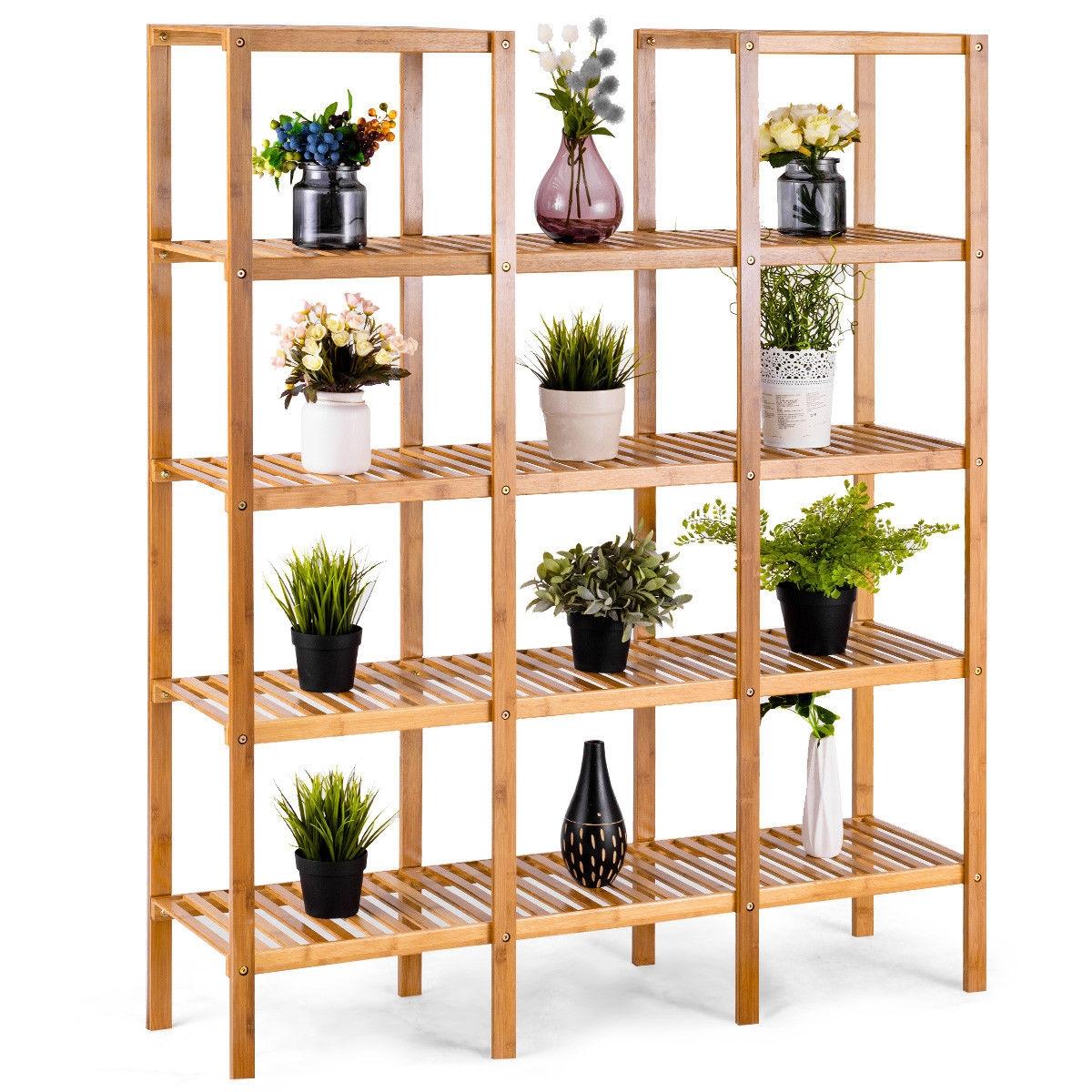 Multifunctional Bamboo Shelf Flower Plant Display Stand
