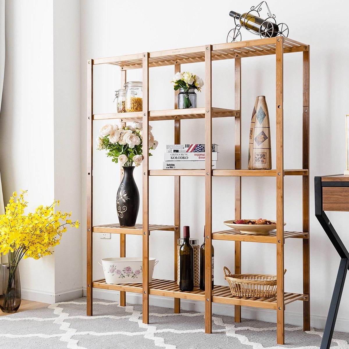 Multifunctional Bamboo Shelf Storage Organizer Rack