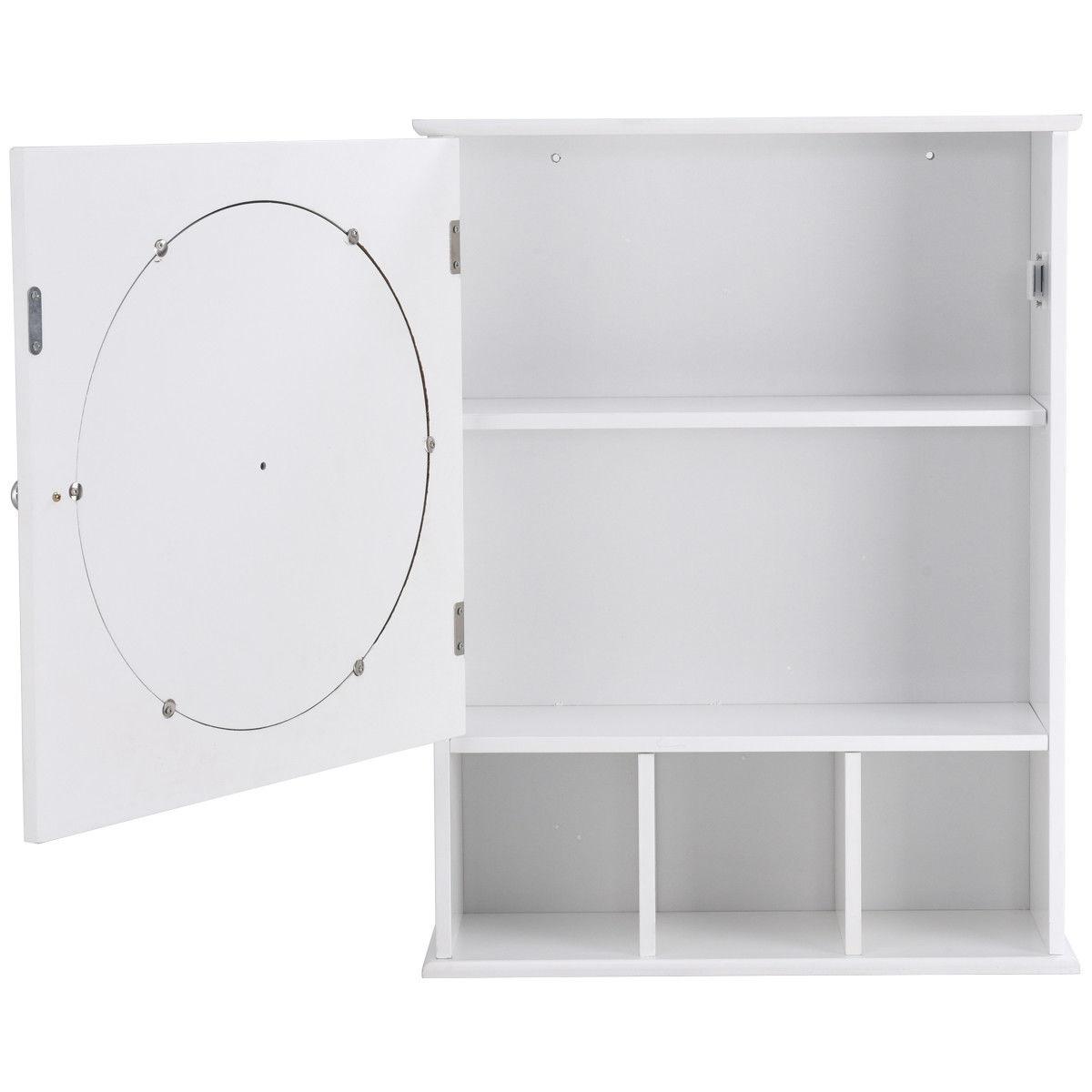 Bathroom Wall Mount Storage Wood Shelf Mirror Door Cabinet