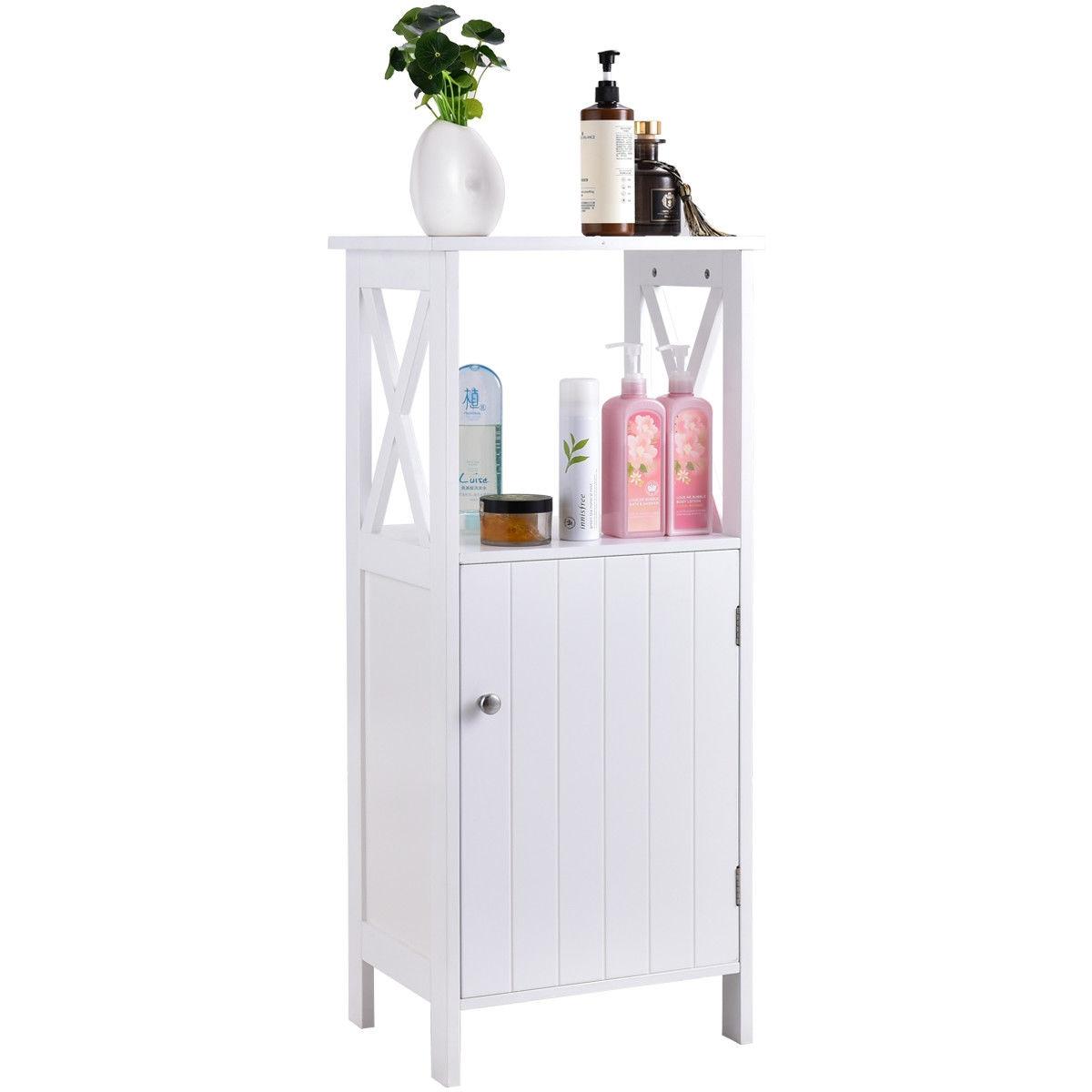 Bathroom Single Door Storage Floor Towels Cabinet