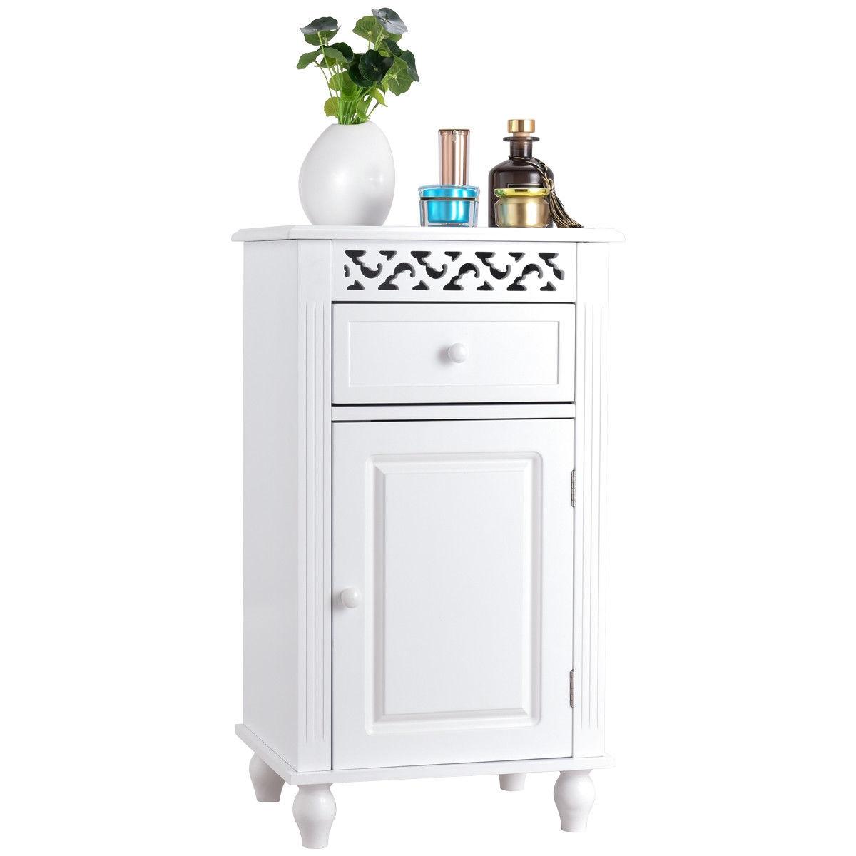Bathroom Floor Storage Cabinet Organizer with Drawer