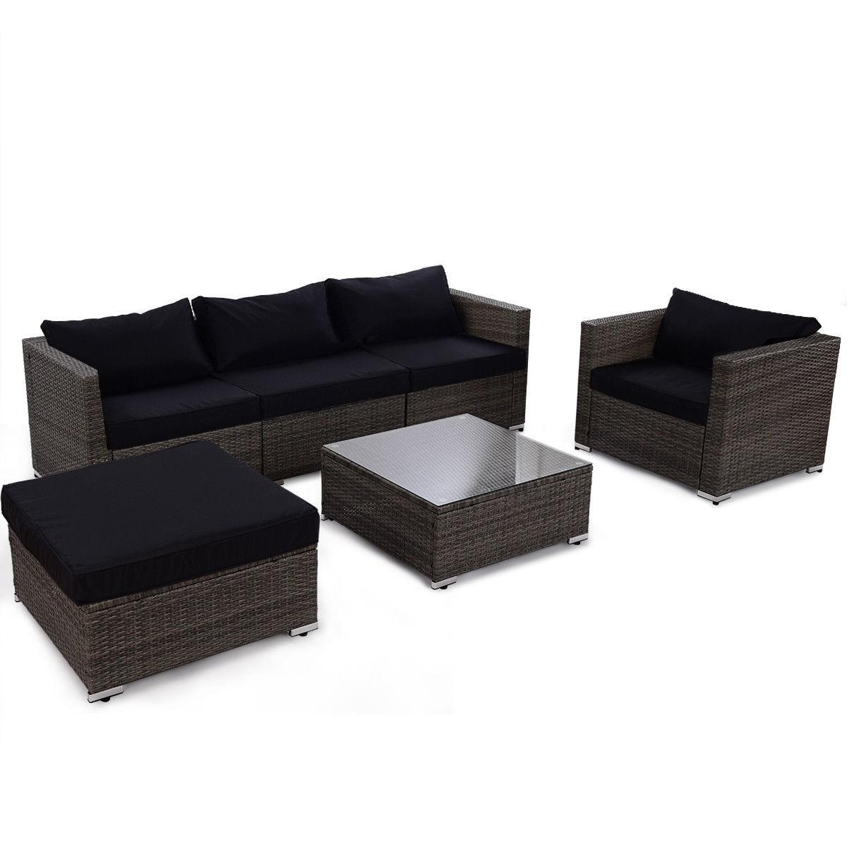 6 pcs Patio Rattan Wicker Sectional Furniture Set w/ Black Cushion