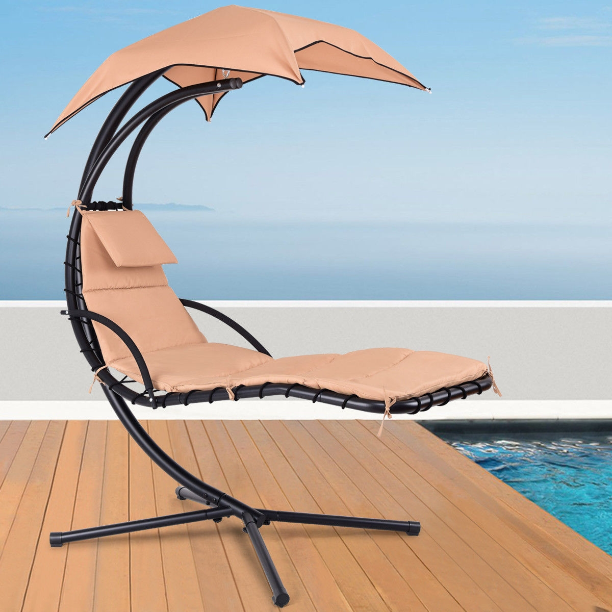 Hanging Arc Stand Porch Swing Hammock Chair w/ Canopy-Beige