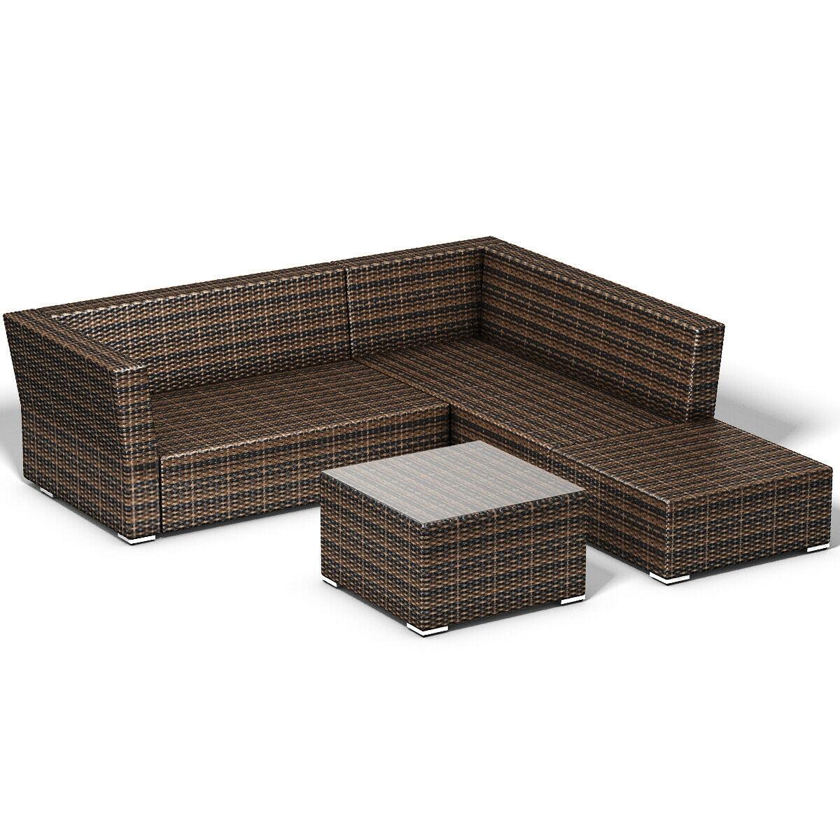 4 pcs Wicker Cushioned 5 Seat Sofa Furniture Set