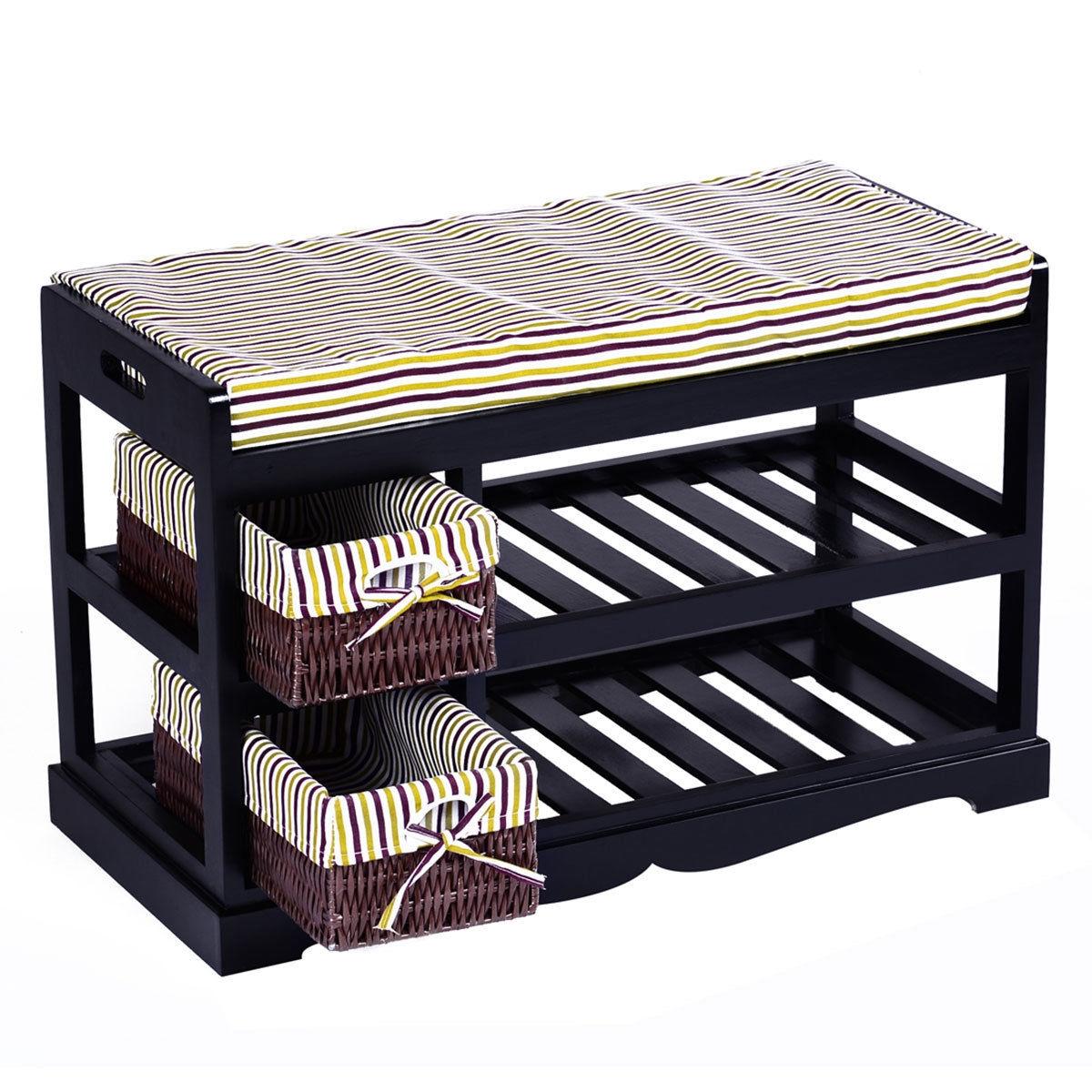 2 Basket Padded Entryway Shoe Storage Bench Rack-Black