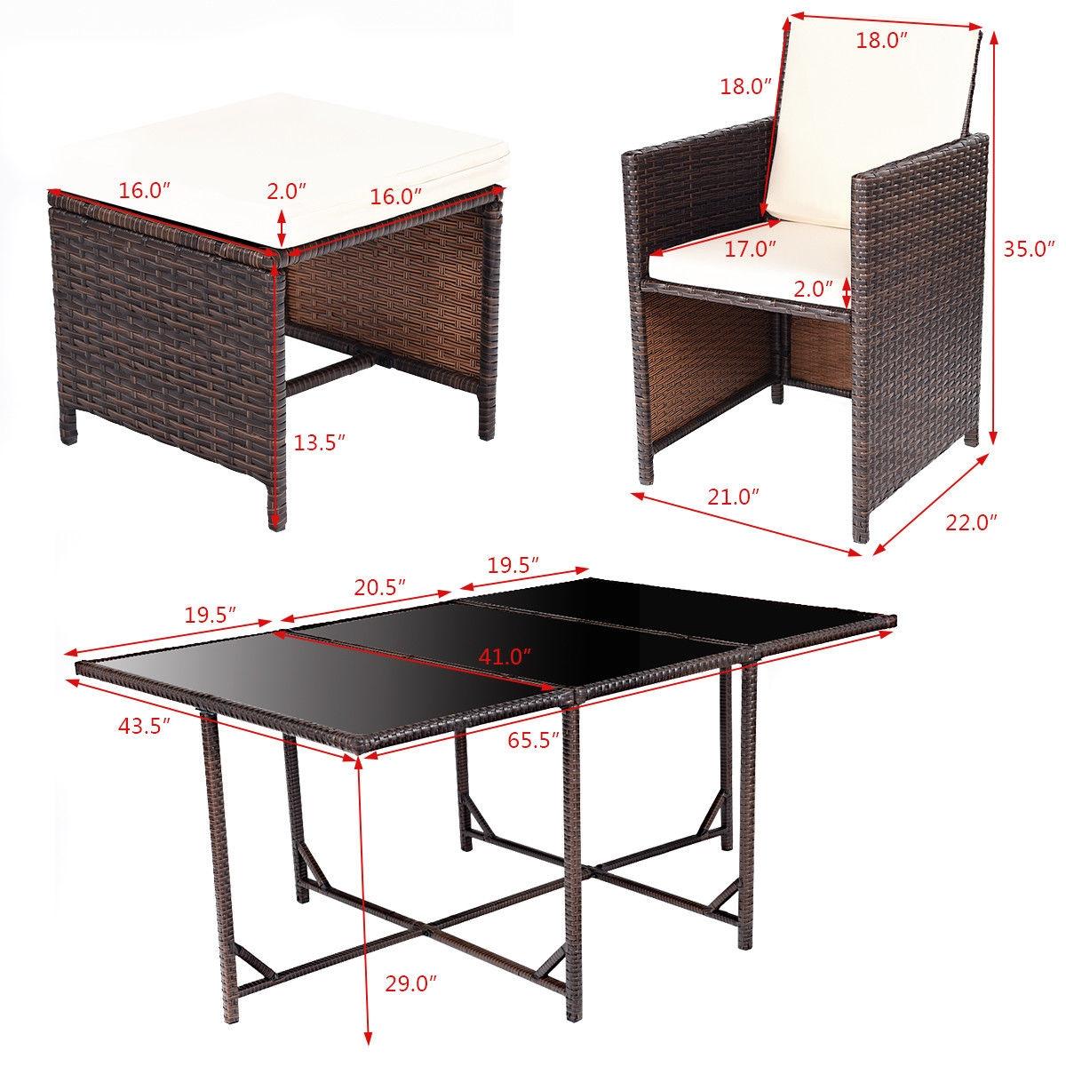 11 pcs Outdoor Patio Dining Rattan Wicker Furniture Set