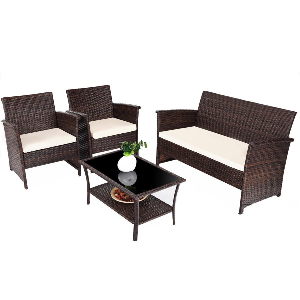 4 pcs Outdoor Patio Rattan Furniture Wicker Sofa Set