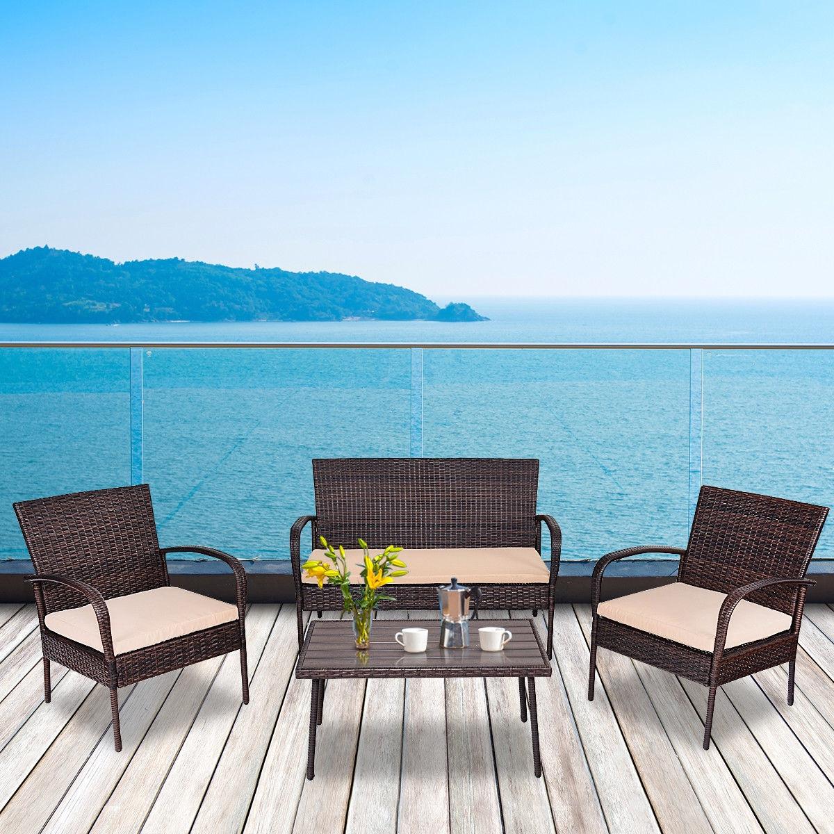 4 pcs Table Sofa Furniture Set with Cushions