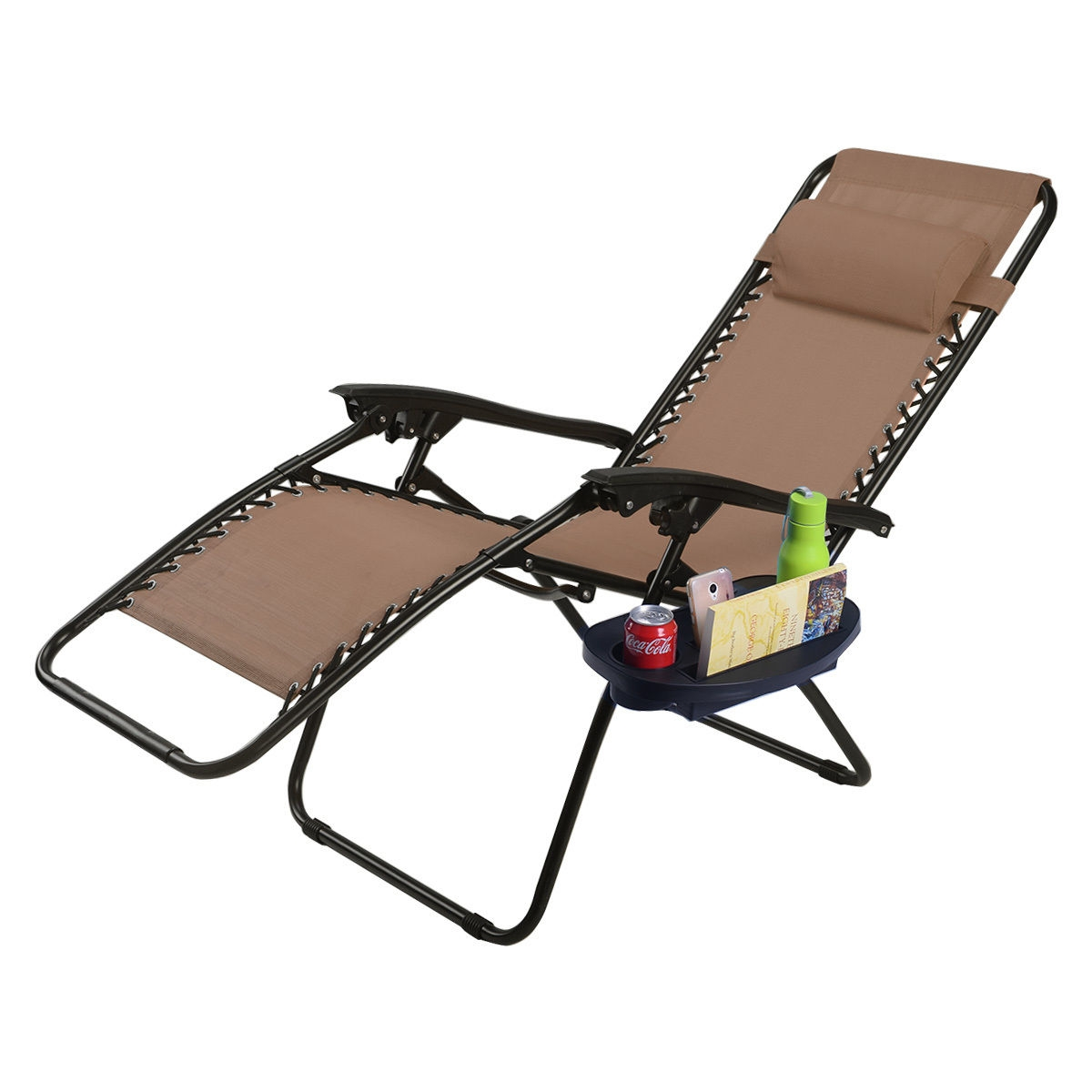 Outdoor Folding Zero Gravity Reclining Lounge Chair w/ Utility Tray