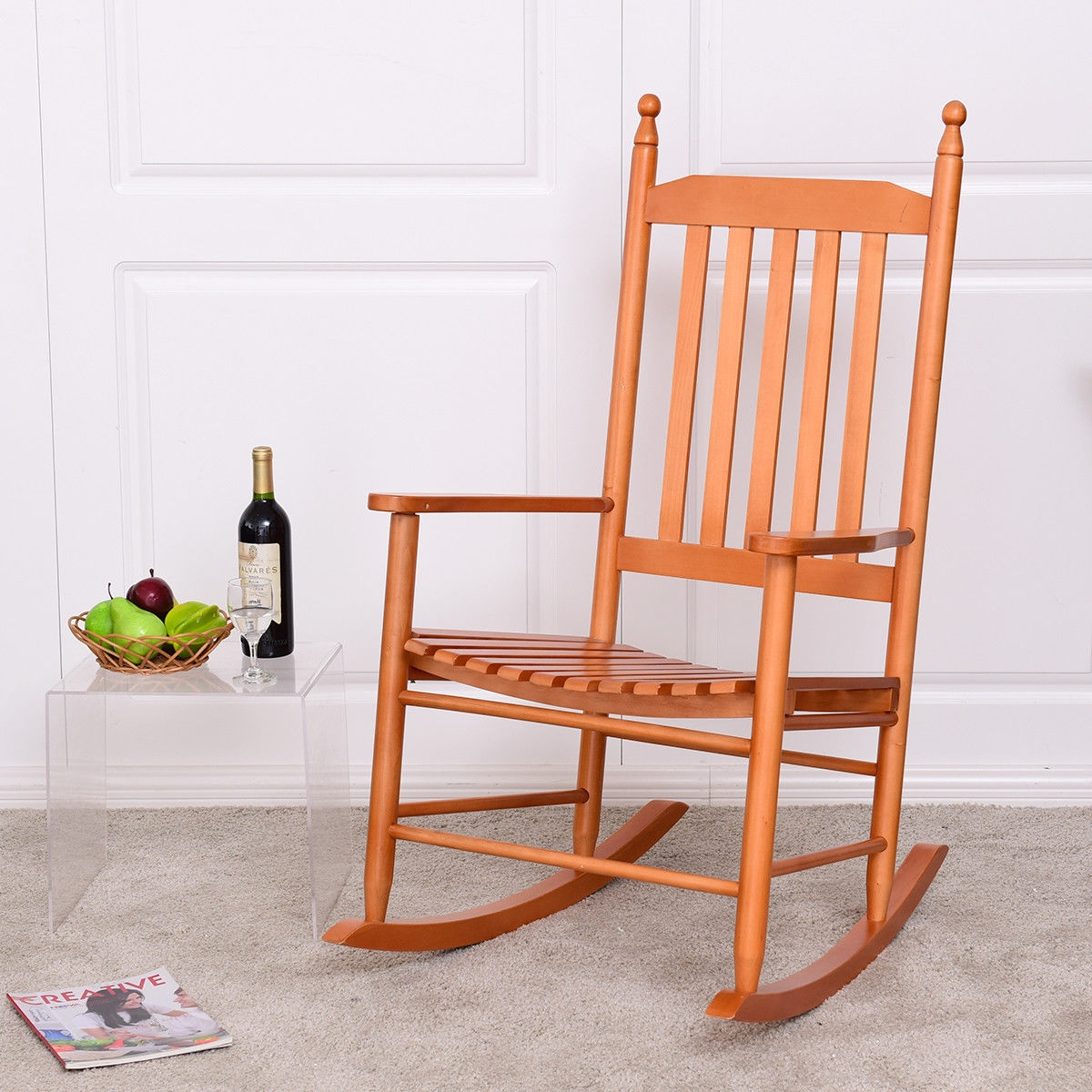 Wooden Balcony Deck Garden Porch Armchair Rocking Chair-Walnut