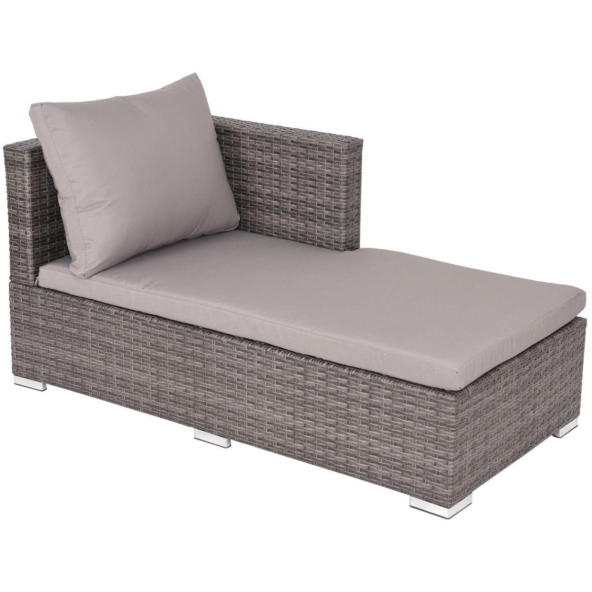 3 pcs Steel Frame Adjustable Seat Rattan Wicker Sofa Furniture Set