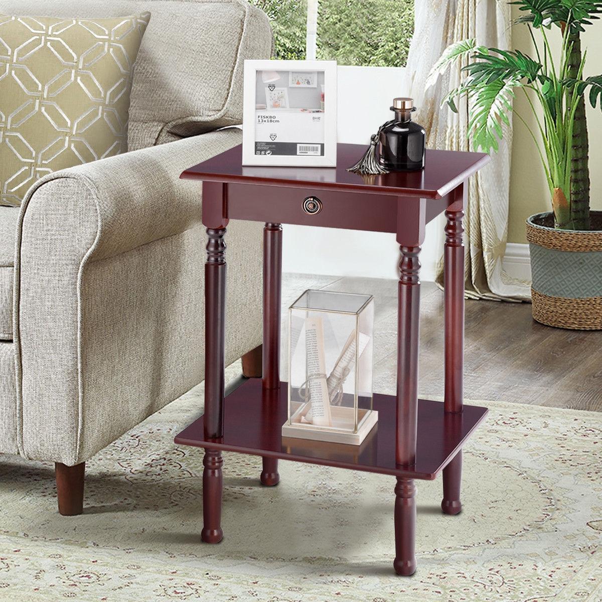 Tall Telephone Stand Side Shelf Table