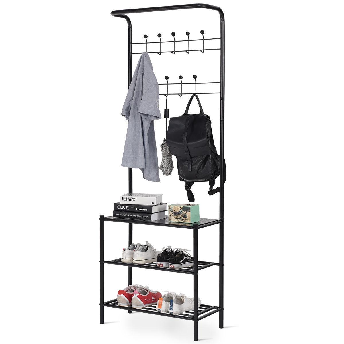 3-Tier 18 Hooks Metal Entryway Garment Rack