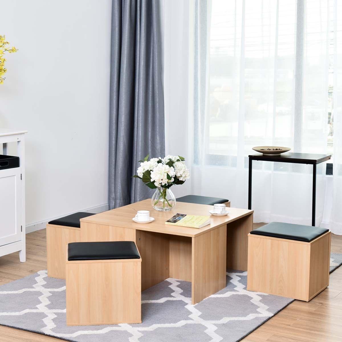 5 pcs Wood Living Room Table Set with 4 Storage Ottoman Stool