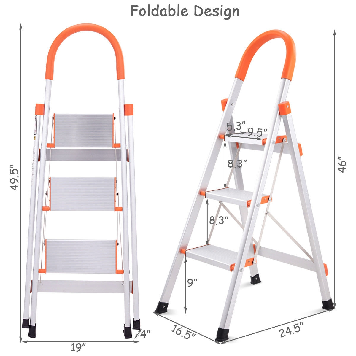 Non-slip 3 Step Aluminum Ladder Folding Platform Stool