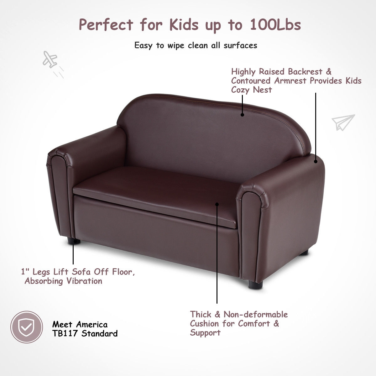 Kids Sofa Armrest Chair w/ Storage Function