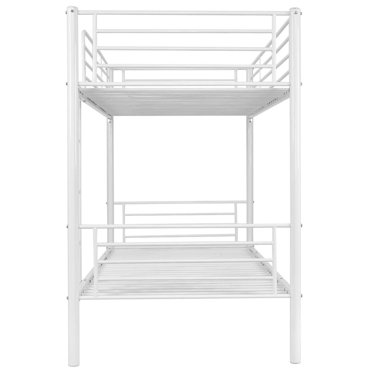 Metal Twin Over Twin Bunk Beds w/ a Ladder-White