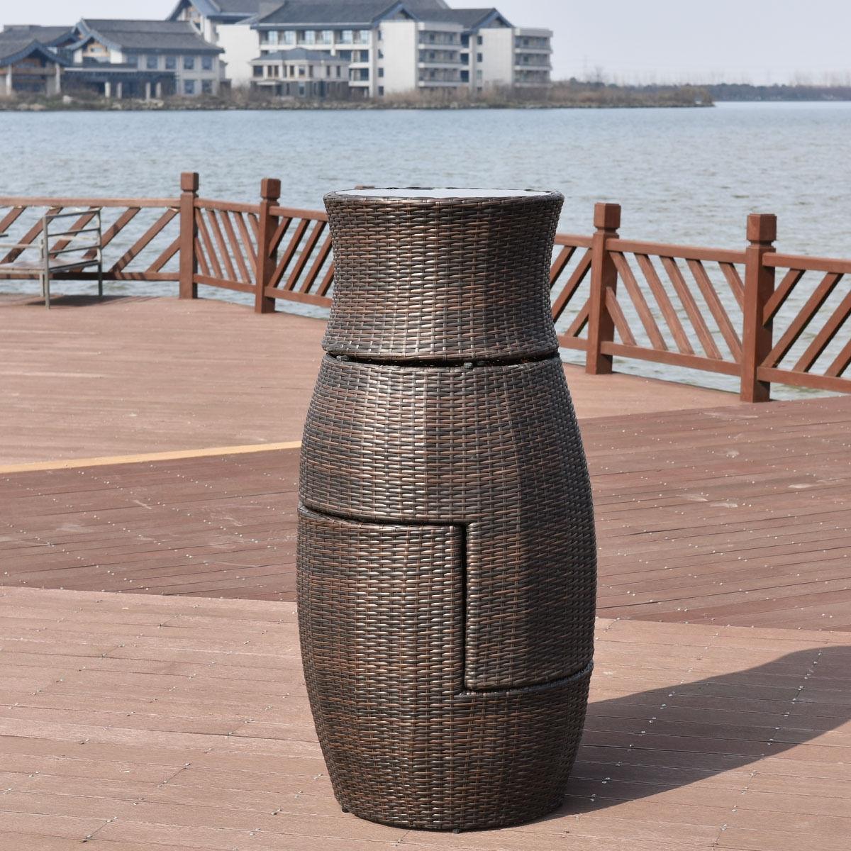 3 pcs Patio Rattan Stackable Furniture Set