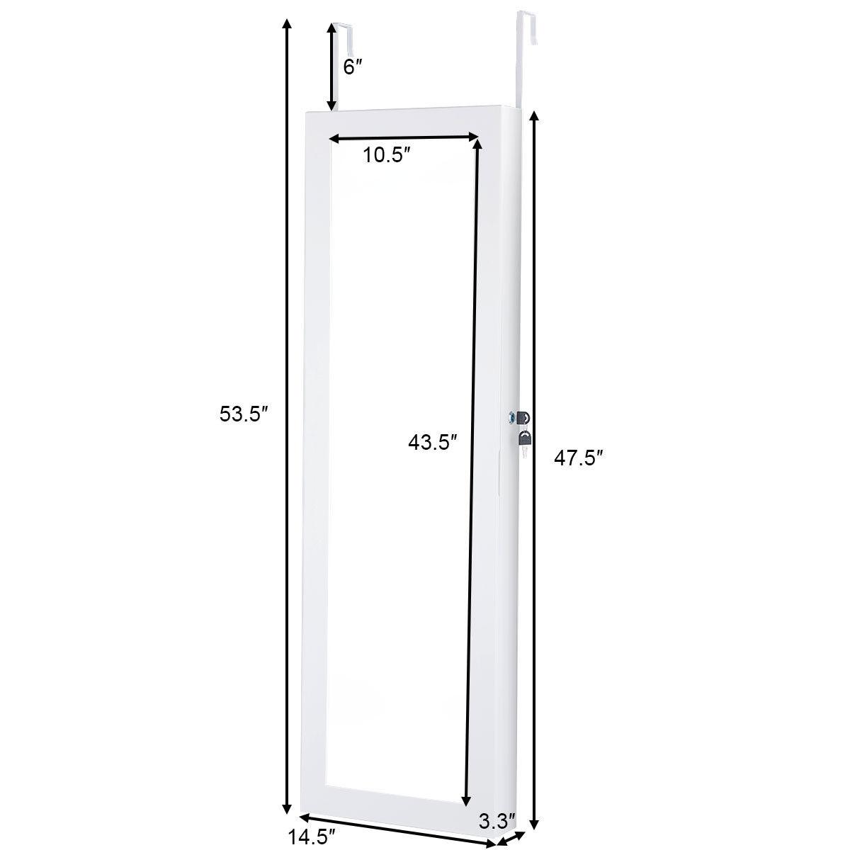 Lockable Wall Door Mounted Mirror Jewelry Cabinet w/LED Lights