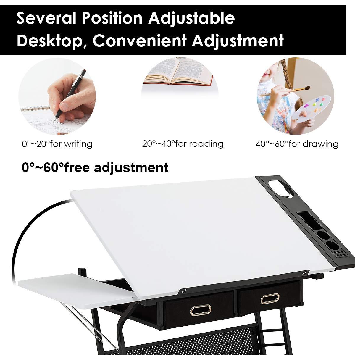 Adjustable Drafting Table Drawing Desk w/ Drop Leaf & Drawers