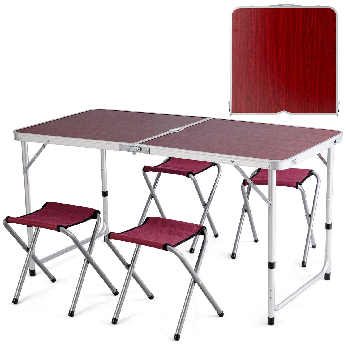 Aluminum Folding Camping Table with 4 Chairs
